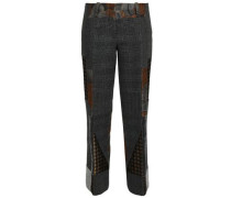 Patchwork Jacquard And Houndstooth Wool Straight-leg Pants Dark Gray