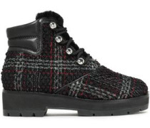 Leather-trimmed Checked Bouclé-tweed Ankle Boots Black
