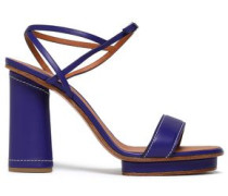 Leather Platform Sandals Indigo