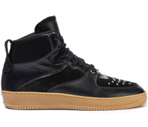 Woman Glam Slam Leather And Studded Suede High-top Sneakers Black
