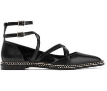Woman Chain-trimmed Leather Point-toe Flats Black