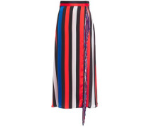 Wrap-effect Fringe-trimmed Striped Crepe De Chine Midi Skirt Black