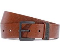 Bead-embellished Textured-leather Belt Brown