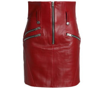 Zip-detailed leather mini skirt