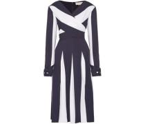 Wrap-effect two-tone silk-blend crepe midi dress