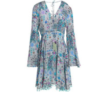 Pom pom-trimmed printed silk mini dress