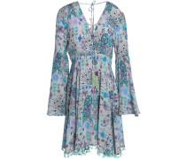 Lace-up Pompom-trimmed Printed Silk Crepe De Chine Dress Light Gray