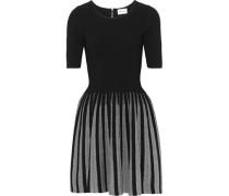 Flared Metallic-trimmed Stretch-knit Mini Dress Black
