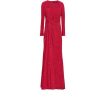 Knotted Plissé-satin Gown Red