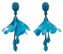 Resin, Crystal And Bead Clip Earrings Azure Size --