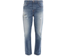 Distressed high-rise staright-leg jeans