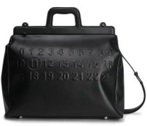 Embossed Leather Tote Black Size --