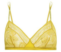 Farniente Mimosa Satin-trimmed Leavers Lace Soft-cup Triangle Bra Yellow  5 A