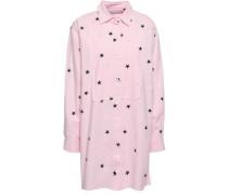Printed Cotton-blend Poplin Mini Shirt Dress Baby Pink Size 0