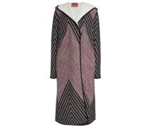 Crochet-knit wool-blend coat