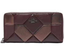 Quilted textured-leather wallet