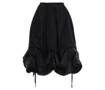 Shell And Twill-paneled Midi Skirt Black