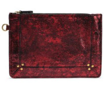 Metallic Cracked-leather Pouch Claret Size --