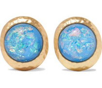 Hammered gold-tone stone clip earrings