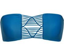 Tonga Macramé-paneled Bandeau Bikini Top Blue
