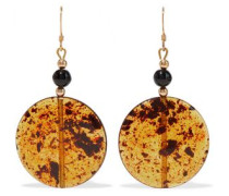 Gold-tone, Bead And Resin Earrings Saffron Size --