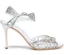 Embellished laser-cut suede sandals
