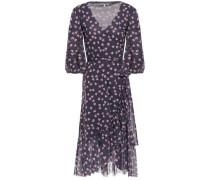 Tilden Floral-print Stretch-mesh Wrap Dress Midnight Blue