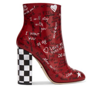 Printed Leather Ankle Boots Red