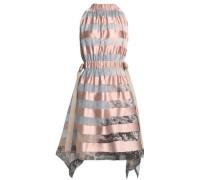 Paneled Satin And Printed Organza Dress Pastel Pink