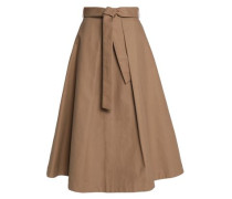 Belted pleated cotton midi skirt