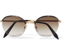 Windsor round-frame printed acetate and gold-tone sunglasses