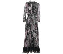 Wrap-effect Lace-trimmed Printed Silk-chiffon Midi Dress Black
