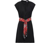 Belted Satin Mini Dress Black