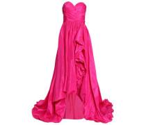 Flared ruffled silk-taffeta gown