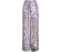 Printed Silk Wide-leg Pants Lilac