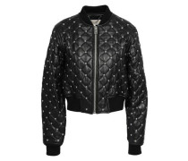 Studded quilted leather bomber jacket