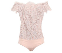 Off-the-shoulder Corded Lace And Jersey Bodysuit Blush