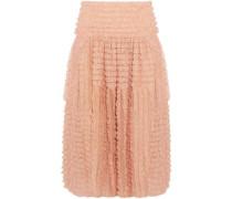 Ruffled Lace-appliquéd Silk-organza Midi Skirt Blush