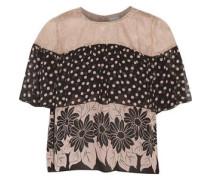 Lace-paneled printed silk-chiffon top