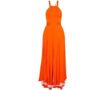 Daphne lace-up silk-blend crepe de chine gown