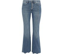 Lou Distressed Mid-rise Kick-flare Jeans Mid Denim  5