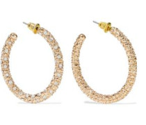 Woman Gold-plated Crystal Hoop Earrings Gold