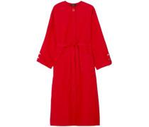 Mireya Tie-front Embellished Cotton-poplin Midi Dress Red Size ONESIZE