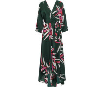 Eloise Asymmetric Floral-print Silk Midi Wrap Dress Dark Green