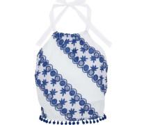 Jasper cropped embroidered cotton halterneck top