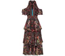 Cold-shoulder Printed Silk-georgette Maxi Dress Black