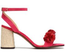 Pompom-embellished suede sandals