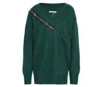 Embellished Ribbed-knit Sweater Dark Green