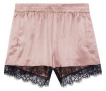 Lace-trimmed silk-satin pajama shorts