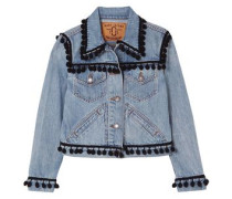 Cropped Pompom-embellished Denim Jacket Light Denim